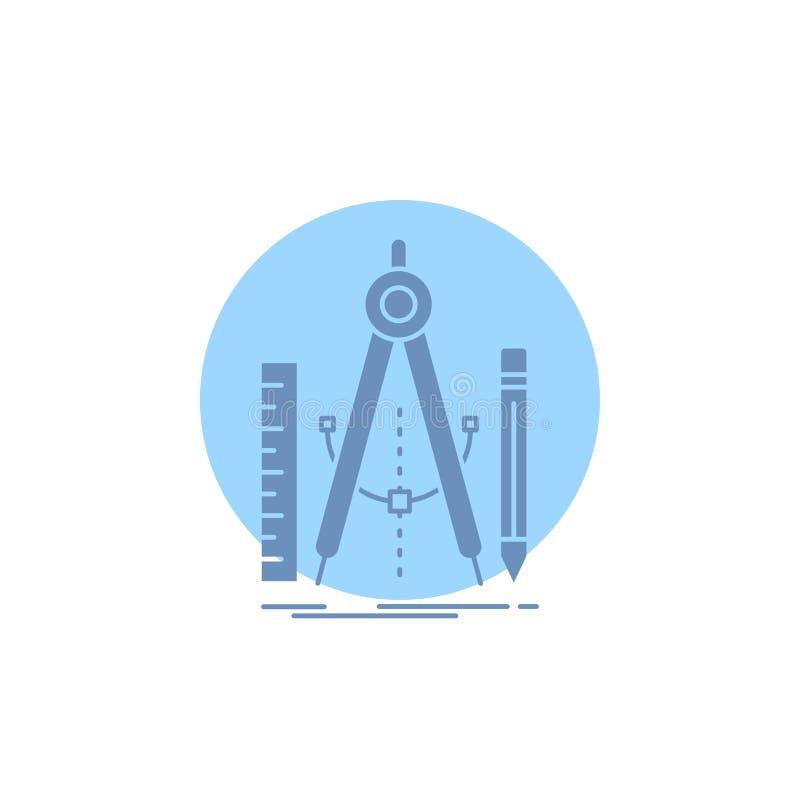Bouw, ontwerp, meetkunde, wiskunde, het Pictogram van hulpmiddelglyph stock illustratie