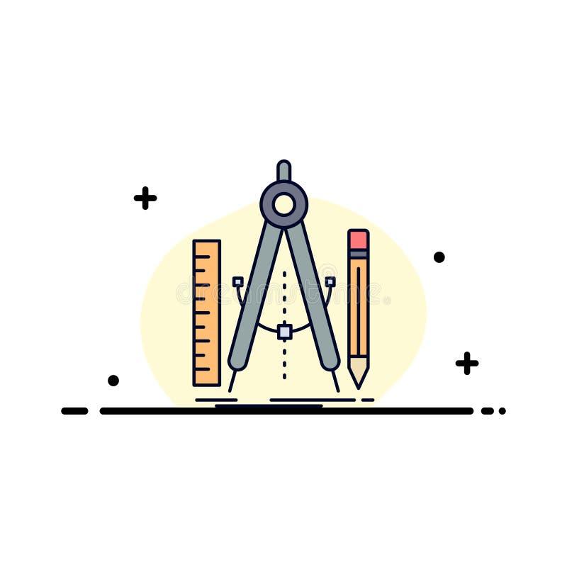 Bouw, ontwerp, meetkunde, wiskunde, het Pictogramvector van de hulpmiddel Vlakke Kleur royalty-vrije illustratie