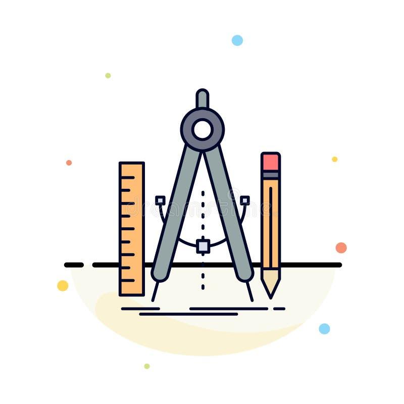 Bouw, ontwerp, meetkunde, wiskunde, het Pictogramvector van de hulpmiddel Vlakke Kleur vector illustratie