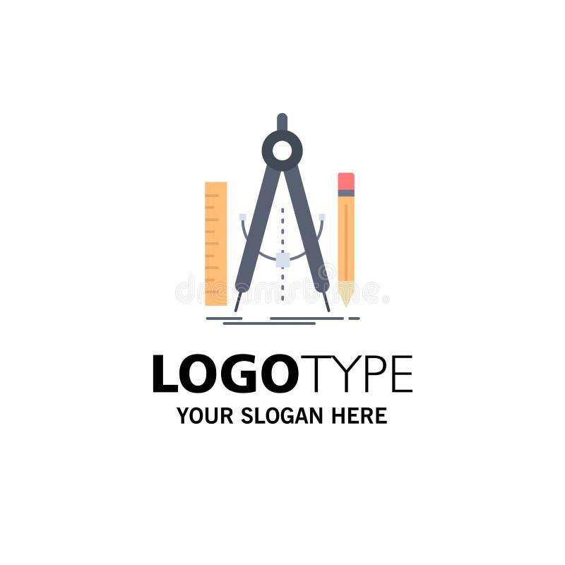 Bouw, ontwerp, meetkunde, wiskunde, het Pictogramvector van de hulpmiddel Vlakke Kleur stock illustratie
