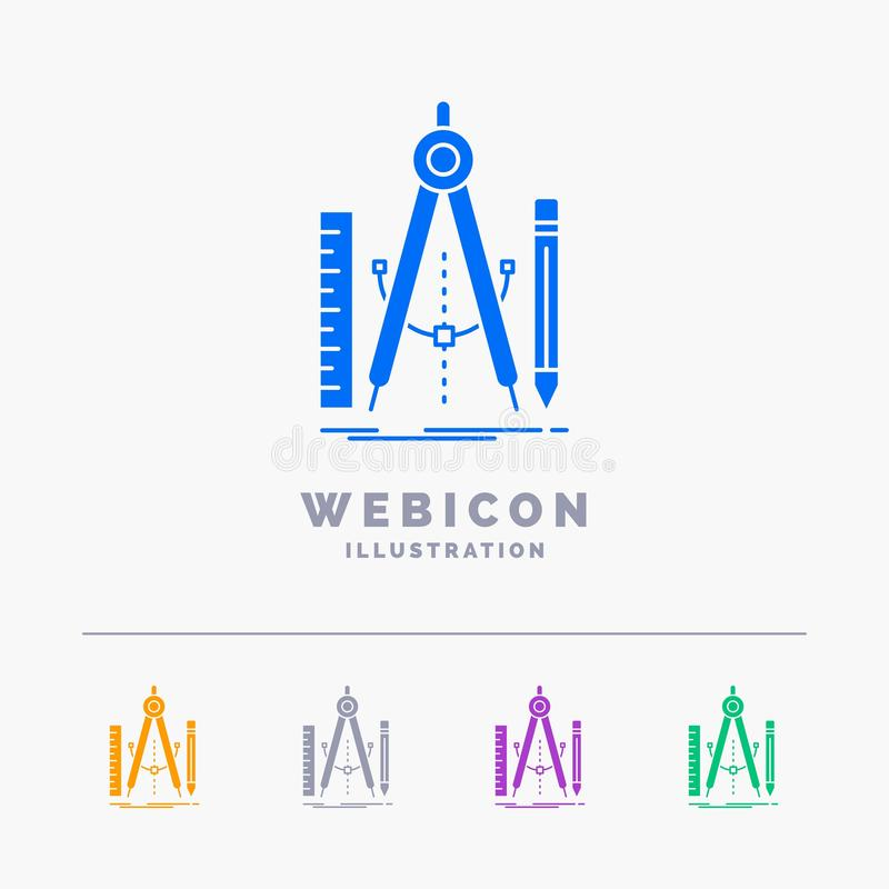Bouw, ontwerp, meetkunde, wiskunde, hulpmiddel 5 het Malplaatje van het het Webpictogram van Kleurenglyph op wit wordt geïsoleerd stock illustratie