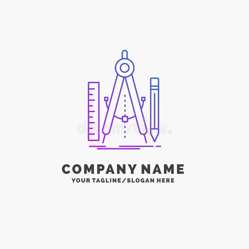 Bouw, ontwerp, meetkunde, wiskunde, hulpmiddel Purpere Zaken Logo Template Plaats voor Tagline vector illustratie