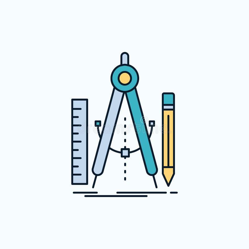 Bouw, ontwerp, meetkunde, wiskunde, hulpmiddel Vlak Pictogram groene en Gele teken en symbolen voor website en Mobiele appliation royalty-vrije illustratie