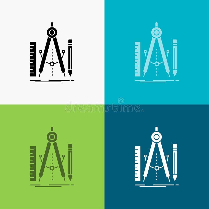 Bouw, ontwerp, meetkunde, wiskunde, hulpmiddelpictogram over Diverse Achtergrond glyph stijlontwerp, voor Web dat en app wordt on royalty-vrije illustratie