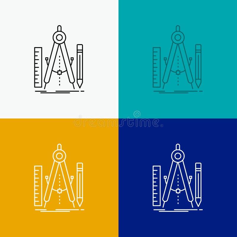 Bouw, ontwerp, meetkunde, wiskunde, hulpmiddelpictogram over Diverse Achtergrond r EPS 10 vector stock illustratie