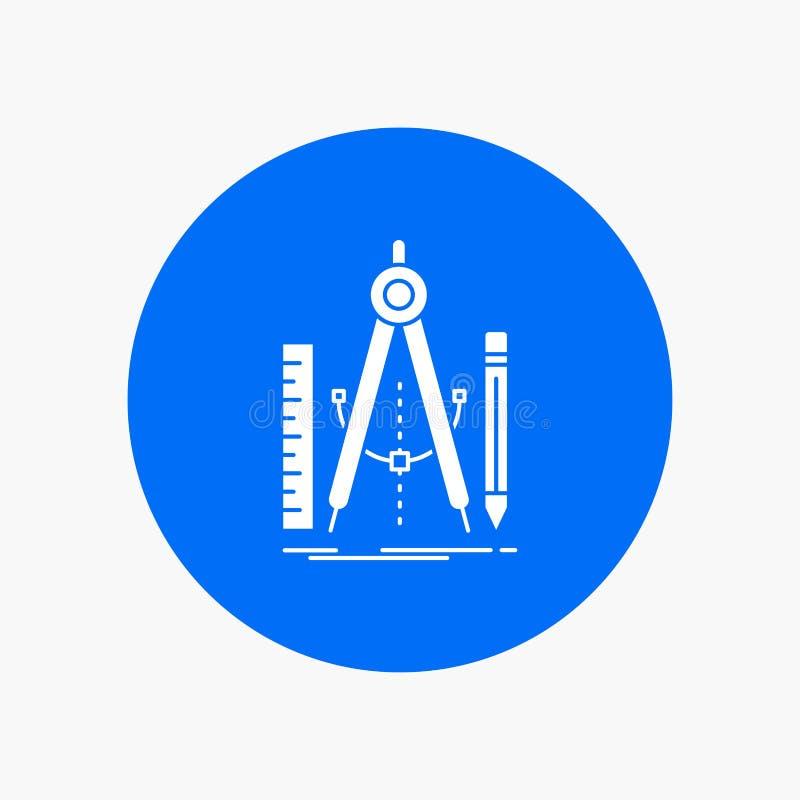 Bouw, ontwerp, meetkunde, wiskunde, Pictogram van hulpmiddel het Witte Glyph in Cirkel Vectorknoopillustratie royalty-vrije illustratie