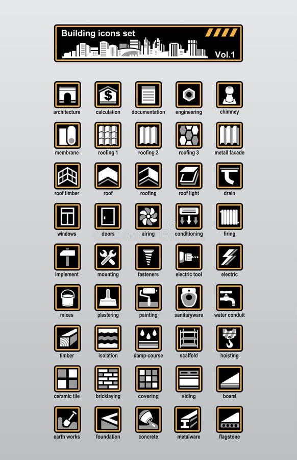 Bouw pictogrammen royalty-vrije illustratie