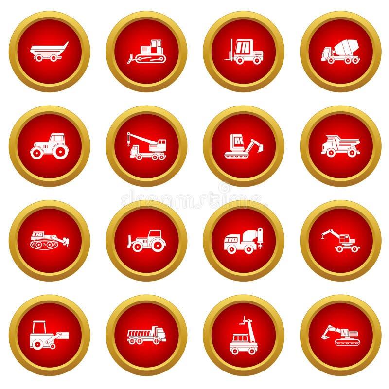 Bouw rode de cirkelreeks van het voertuigenpictogram royalty-vrije illustratie