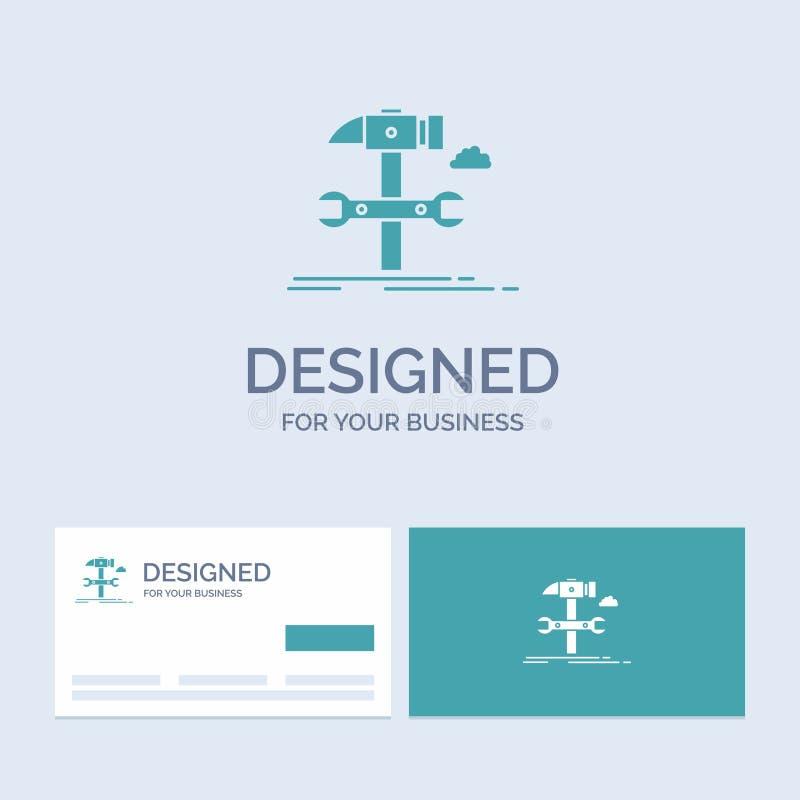 Bouw, techniek, hamer, reparatie, de dienstzaken Logo Glyph Icon Symbol voor uw zaken Turkooise Visitekaartjes met Merk vector illustratie