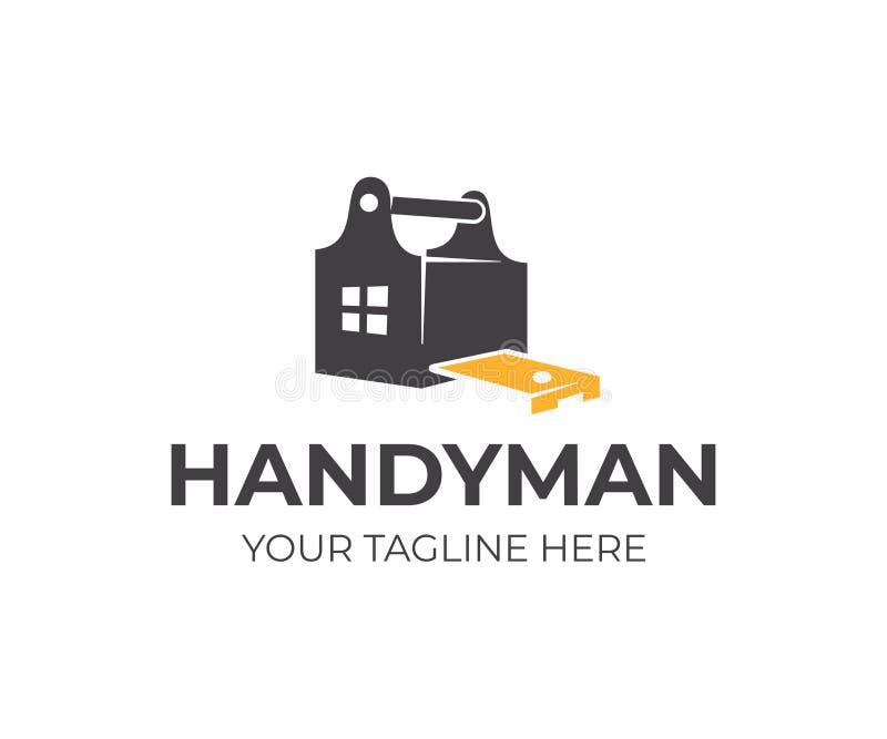 Bouw, toolbox die, zakmaatregel band en huis met venster meten, embleemontwerp Het manusje van alles, de bouw, timmerwerk en bouw royalty-vrije illustratie