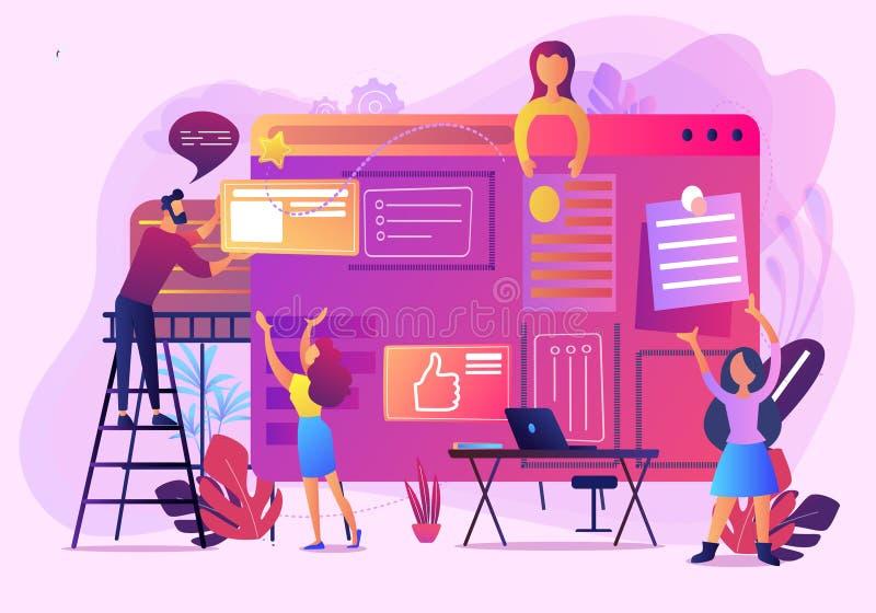 Bouw van de illustratie van de bedrijfsbureauwebsite vector illustratie
