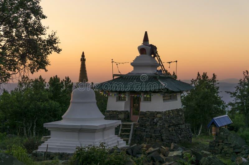 Bouw van een Boeddhistisch klooster stock afbeeldingen