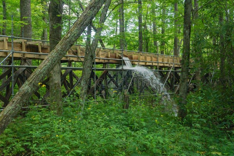 Bouw van een Nieuwe Goot bij Mabry-Molen, Blauw Ridge Parkway, Virginia, de V.S. stock afbeelding