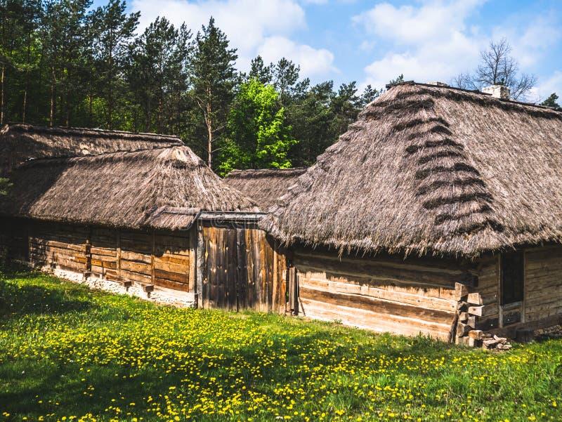 Bouw van een oud houten landbouwbedrijf royalty-vrije stock fotografie