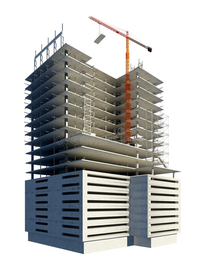Bouw van het gebouw royalty-vrije illustratie