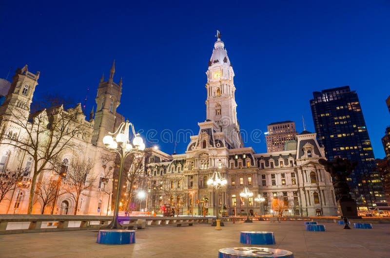 Bouw van het het oriëntatiepunt de historische Stadhuis van Philadelphia royalty-vrije stock foto's
