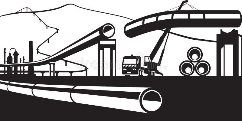 Bouw van industriële pijpleidingen royalty-vrije illustratie