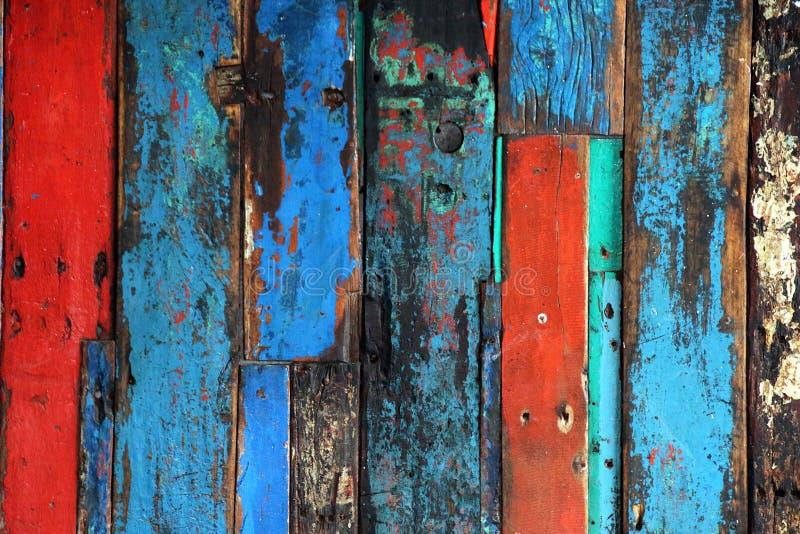 Bouw van Oude Heldere Gekleurde Houtplanken royalty-vrije stock afbeelding