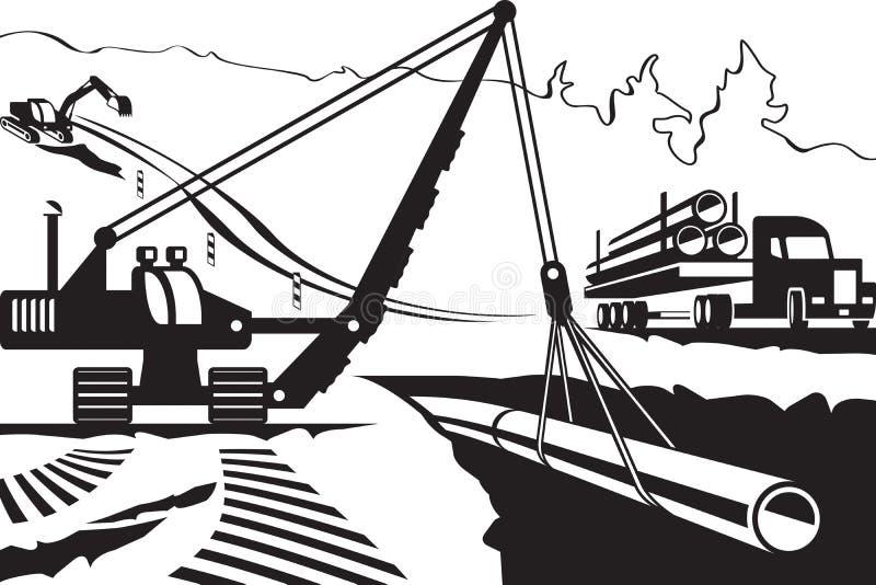 Bouw van pijpleiding door berg stock illustratie