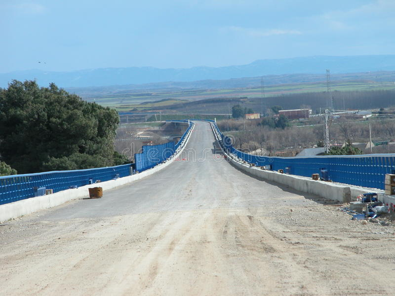 Bouw van spoorweg van Spaanse hogesnelheidstrein, AVE stock foto