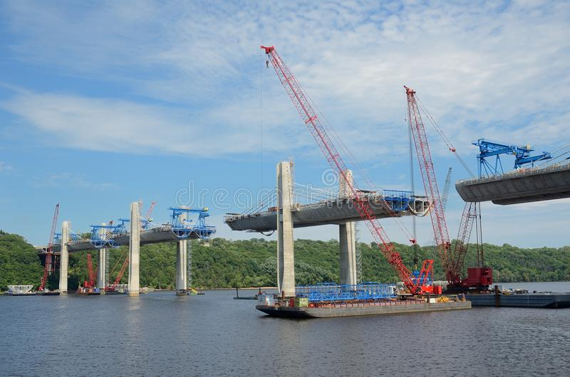 Bouw van St Croix Crossing Extradosed Bridge royalty-vrije stock foto's
