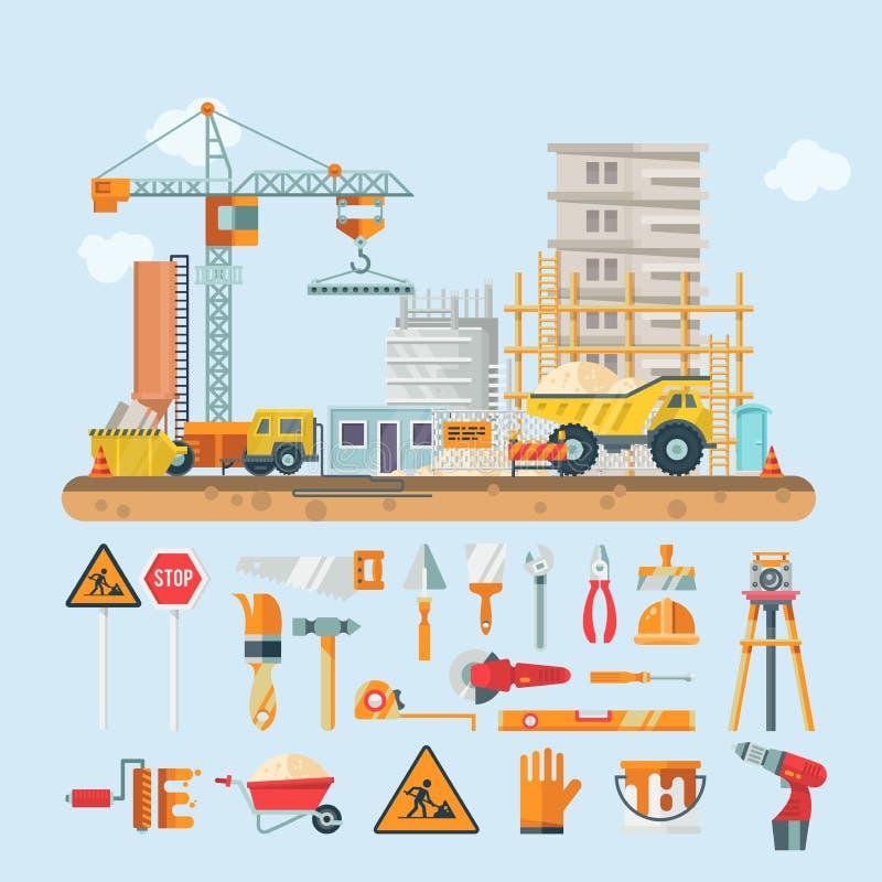 Bouw vector vlakke kleurrijke illustratie met de bouw van hulpmiddelen De bouw van affiche in moderne stijl royalty-vrije illustratie