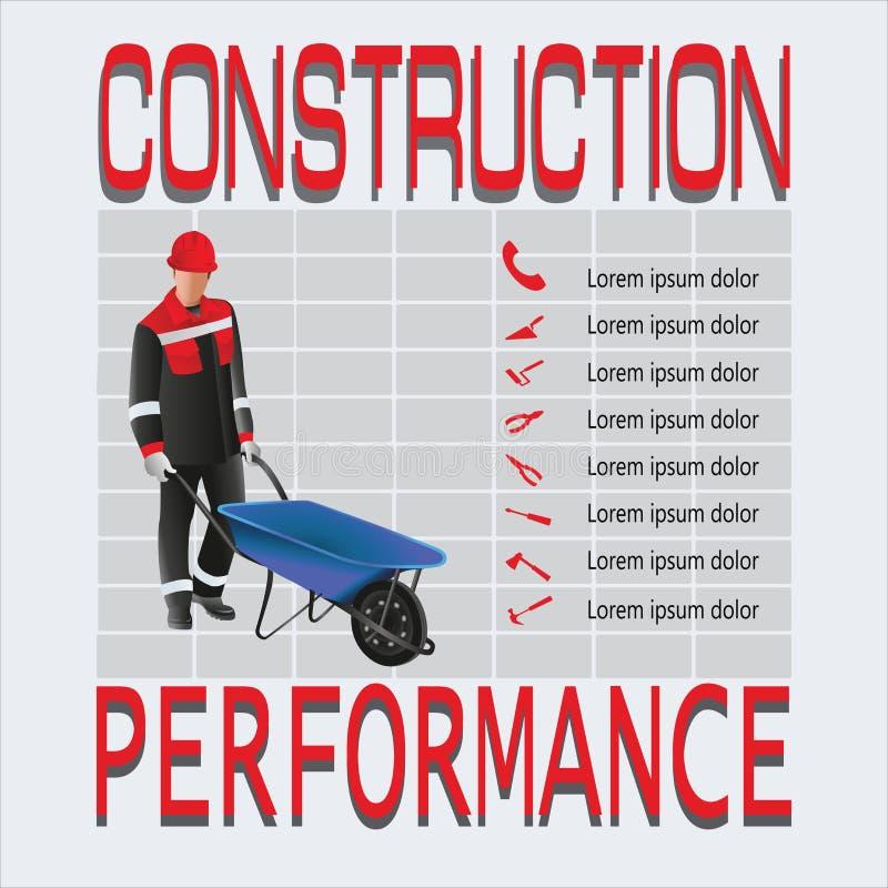 bouw Werkende mens vector illustratie