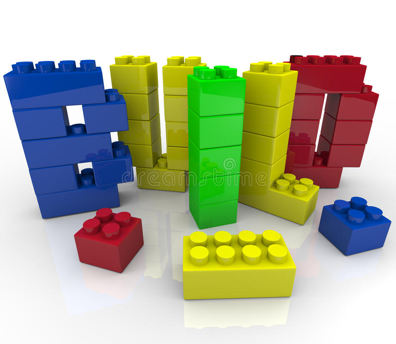 Bouw Word in de Bouwstenen van het Stuk speelgoed stock illustratie
