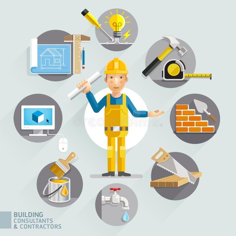 Bouwadviseurs & contractanten vector illustratie