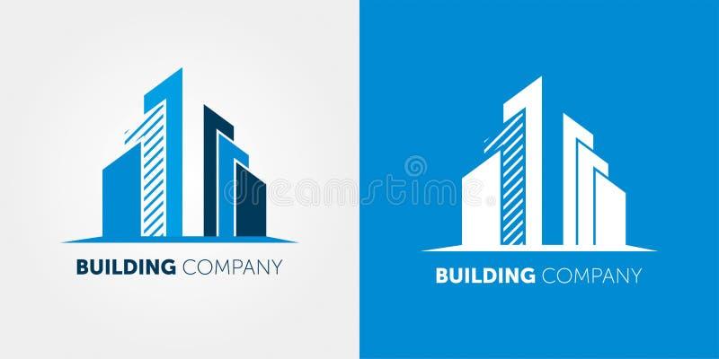Bouwbedrijfembleem Modern Embleem voor onroerende goederenbedrijven en de huisdiensten stock illustratie