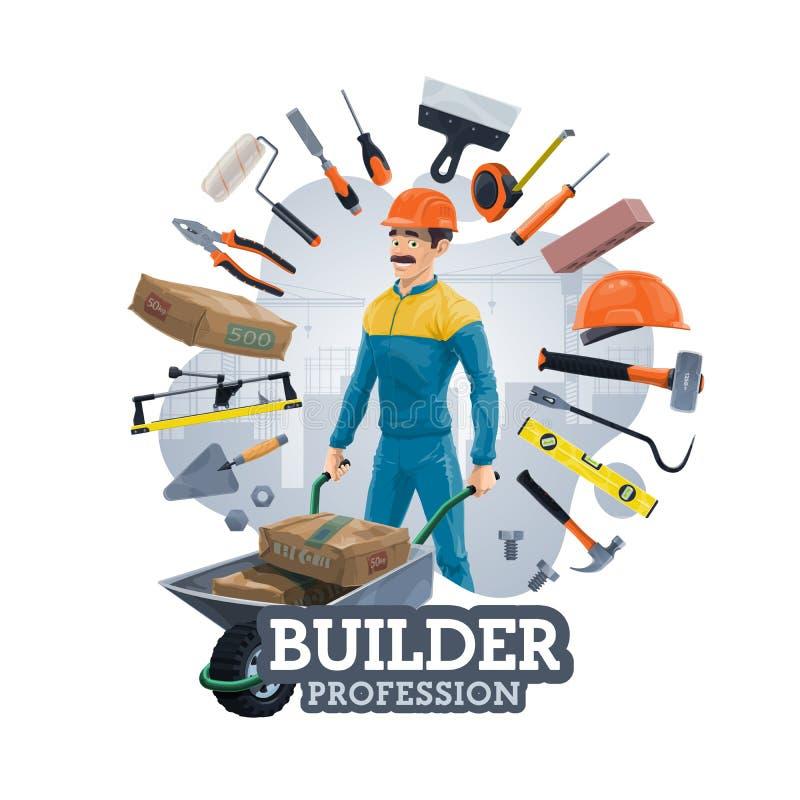 Bouwbouwwerkzaamheidhulpmiddelen, bouwersarbeider royalty-vrije illustratie