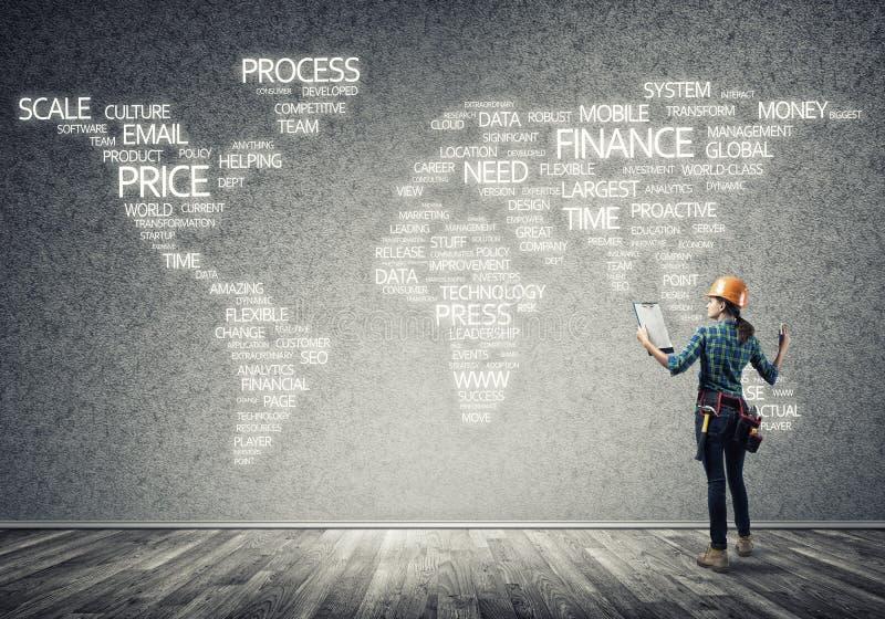 Bouwconcept en globalisering stock afbeelding