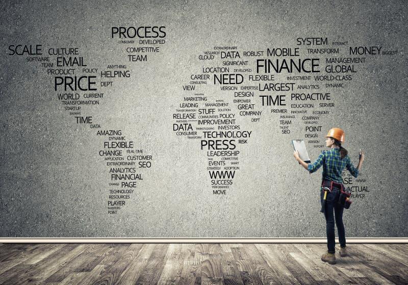 Bouwconcept en globalisering royalty-vrije stock afbeelding