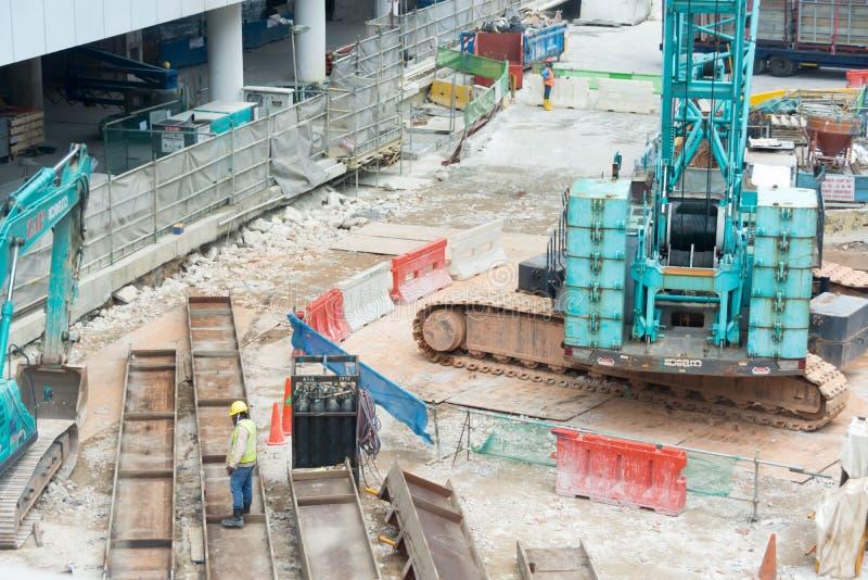 Bouwconstructie dichtbij Al Junied, Singapore, 2 Maart, 2018 stock fotografie