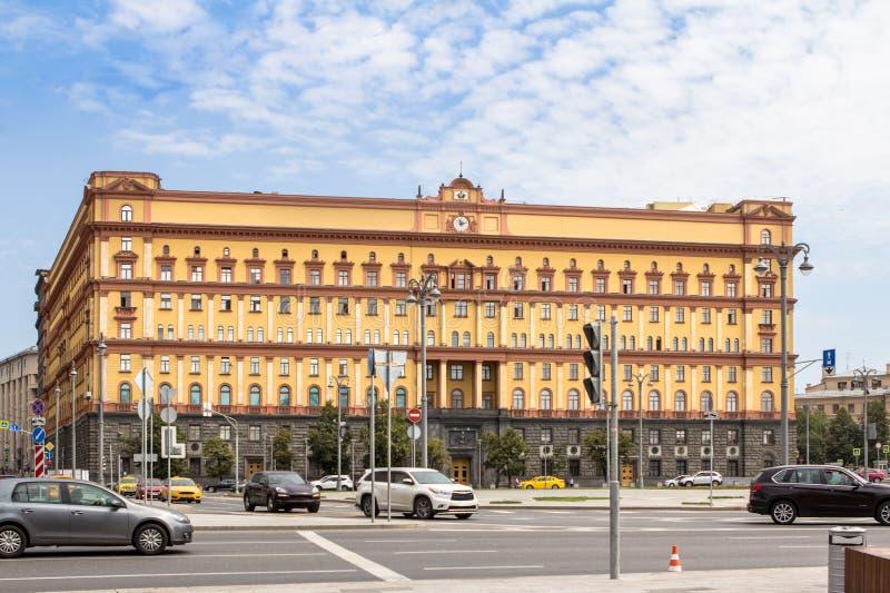 Bouwen van de Russische Federatie van de Federale Veiligheidsdienst op het Lubyanka-plein, Moskou stock afbeelding
