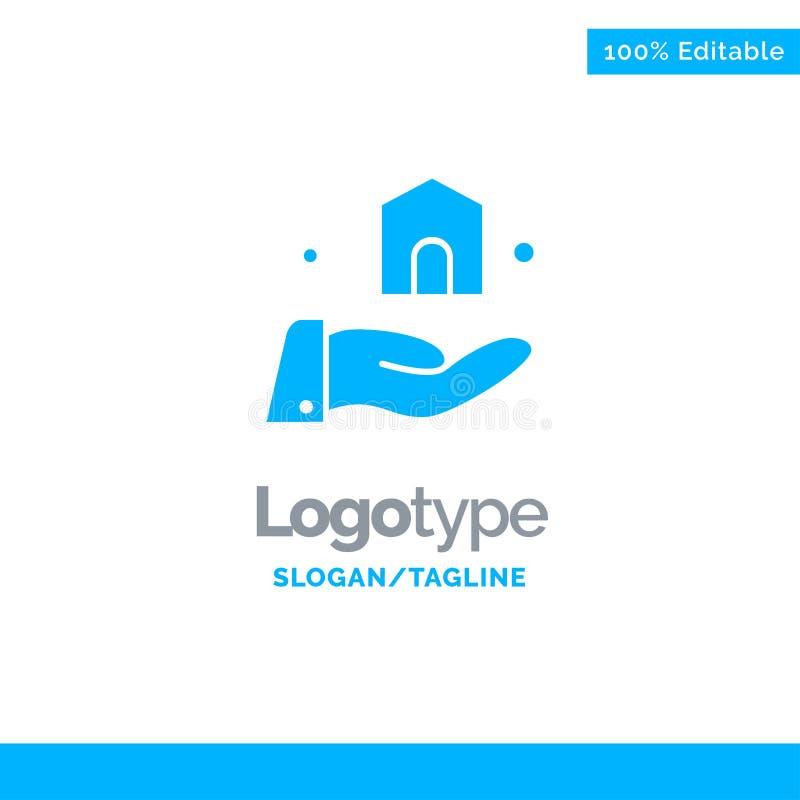 Bouwend, bouw, Bouw Blauw Stevig Logo Template Plaats voor Tagline vector illustratie