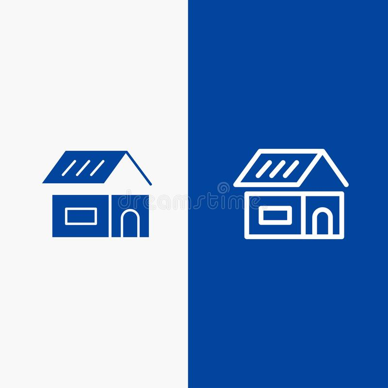 Bouwend, bouw, Bouw, Huislijn en Lijn van de het pictogram Blauwe banner van Glyph de Stevige en Stevige het pictogram Blauwe ban royalty-vrije illustratie