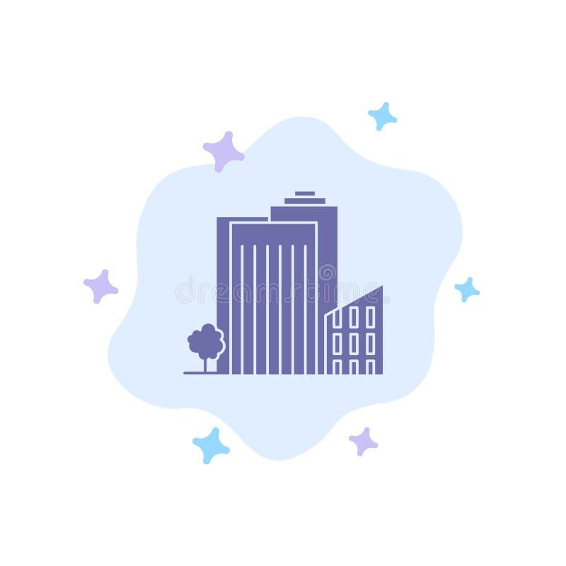 Bouwend, bouw, Slaapzaal, Toren, het Blauwe Pictogram van Real Estate op Abstracte Wolkenachtergrond stock illustratie