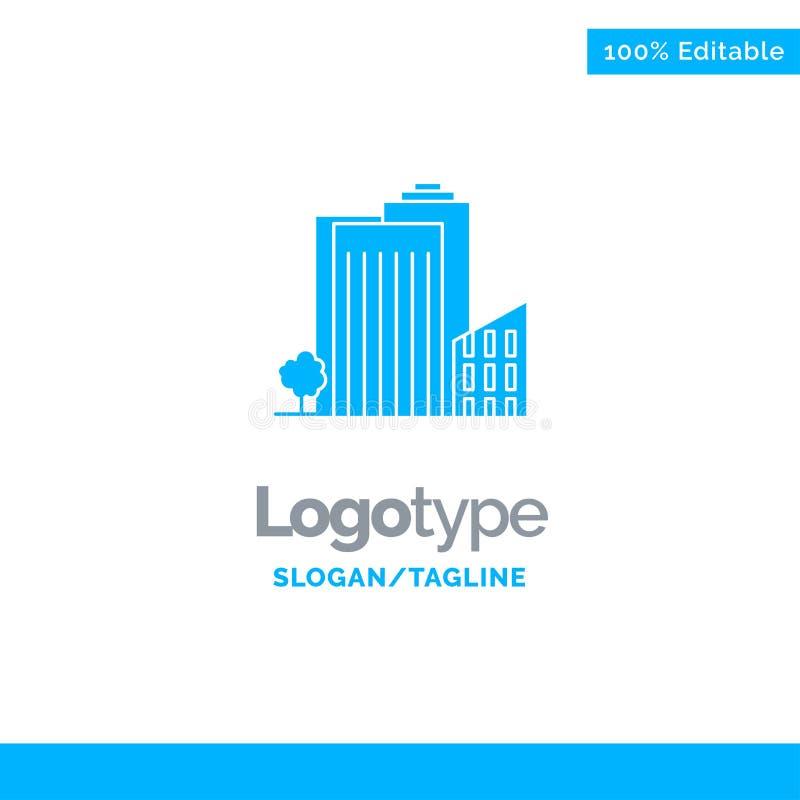 Bouwend, bouw, Slaapzaal, Toren, Real Estate Blauw Stevig Logo Template Plaats voor Tagline vector illustratie