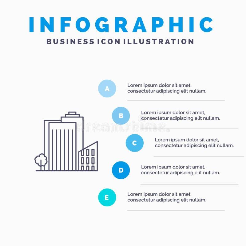 Bouwend, bouw, Slaapzaal, Toren, Real Estate-Lijnpictogram met infographicsachtergrond van de 5 stappenpresentatie vector illustratie