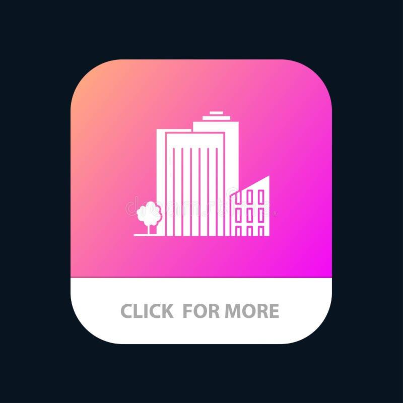 Bouwend, bouw, Slaapzaal, Toren, Real Estate-Mobiele toepassingknoop Android en IOS Glyph Versie stock illustratie