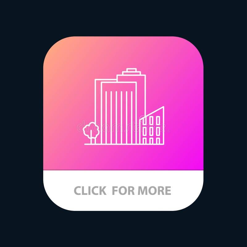 Bouwend, bouw, Slaapzaal, Toren, Real Estate-Mobiele toepassingknoop Android en IOS Lijnversie royalty-vrije illustratie