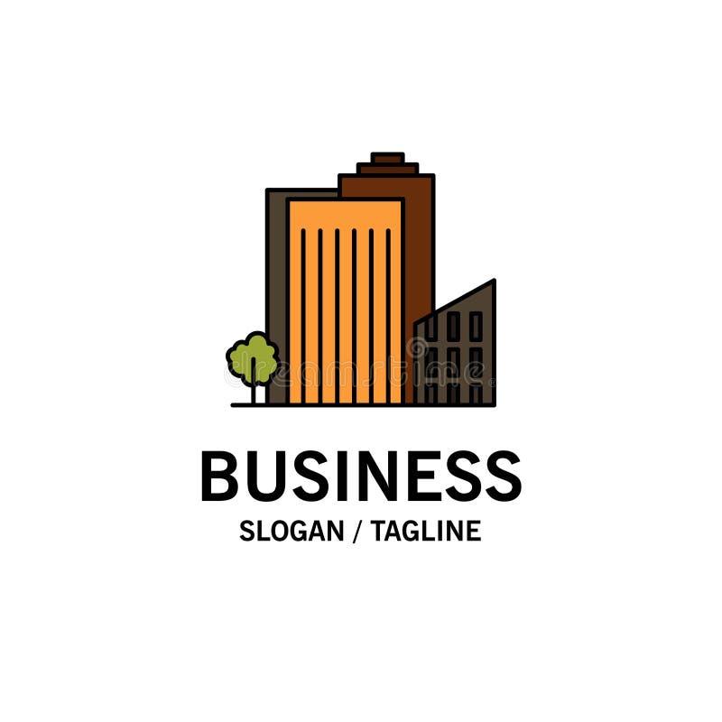 Bouwend, bouw, Slaapzaal, Toren, Real Estate-Zaken Logo Template vlakke kleur royalty-vrije illustratie