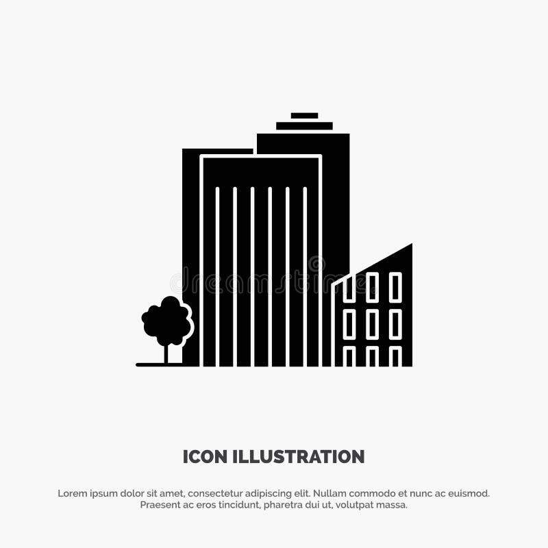 Bouwend, bouw, Slaapzaal, Toren, stevige Glyph het Pictogramvector van Real Estate vector illustratie
