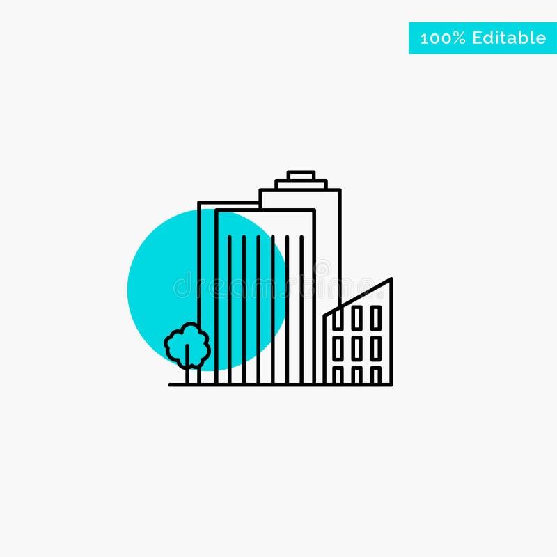 Bouwend, bouw, Slaapzaal, Toren, van de het hoogtepuntcirkel van Real Estate turkoois het punt Vectorpictogram stock illustratie