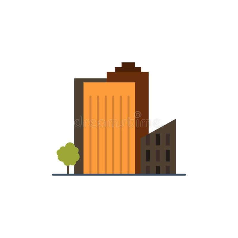 Bouwend, bouw, Slaapzaal, Toren, Vlak de Kleurenpictogram van Real Estate Het vectormalplaatje van de pictogrambanner stock illustratie