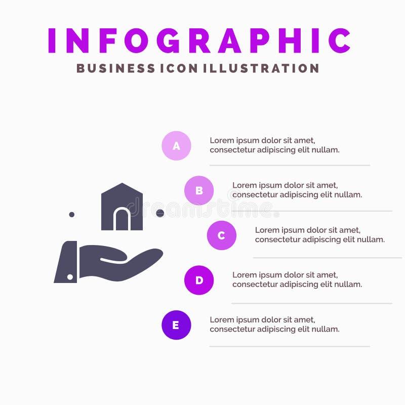 Bouwend, bouw, Bouw Stevig Pictogram Infographics 5 de Achtergrond van de Stappenpresentatie vector illustratie