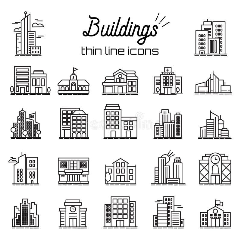 Bouwend geplaatste pictogrammen Stad, Hoofdkwartier en rooilijn Vectorpictogrammen stock illustratie