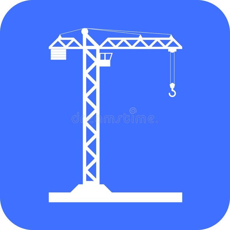 Bouwend het pictogram van de Torenkraan - vector stock afbeelding