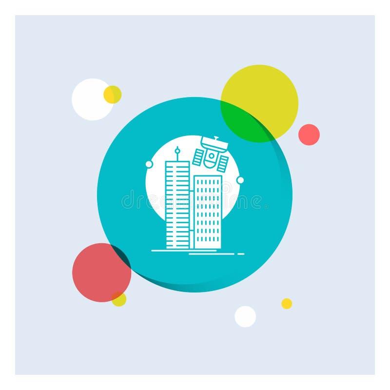 bouwend, slimme stad, technologie, satelliet, Achtergrond van de het Pictogram kleurrijke Cirkel van bedrijfs de Witte Glyph stock illustratie